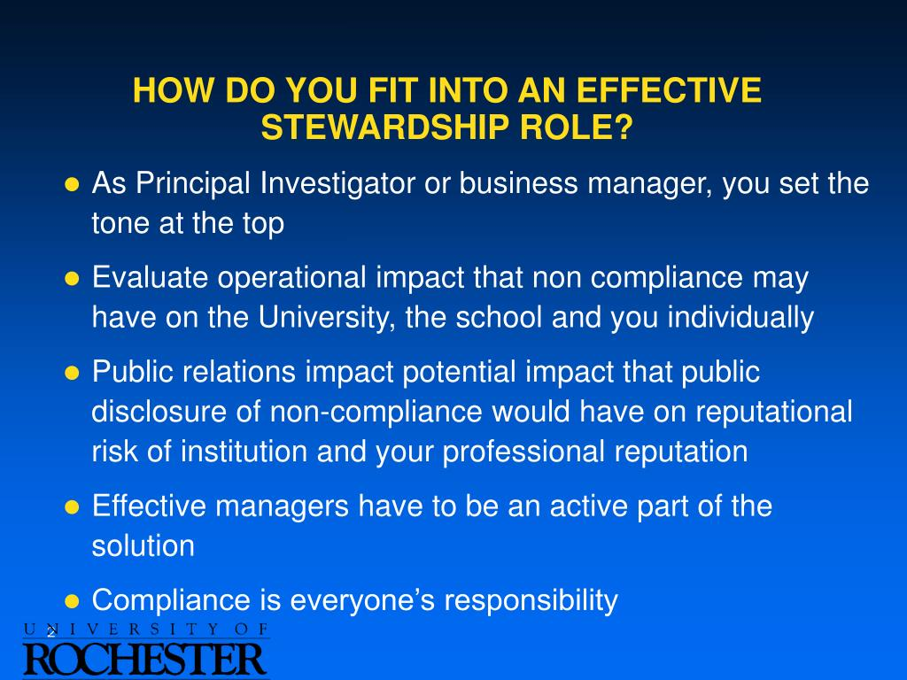 HOW DO YOU FIT INTO AN EFFECTIVE STEWARDSHIP ROLE?