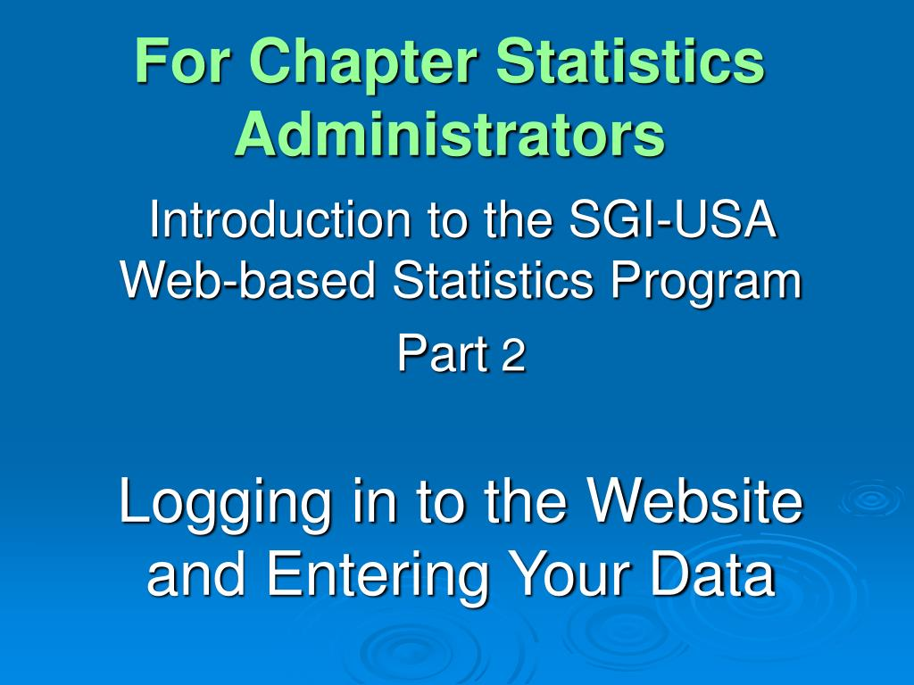 for chapter statistics administrators l.