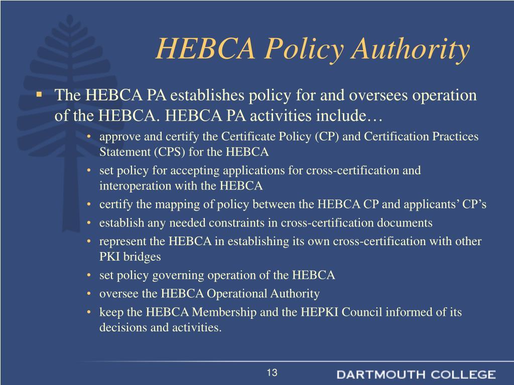 HEBCA Policy Authority