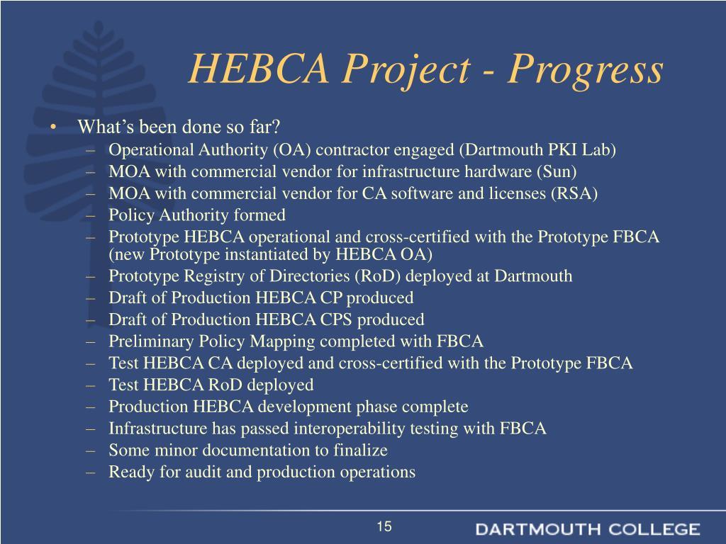 HEBCA Project - Progress