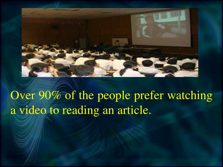 Over 90 of the people prefer watching a video to reading an article