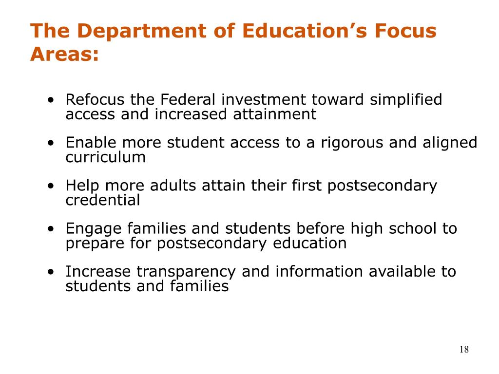 The Department of Education's Focus Areas: