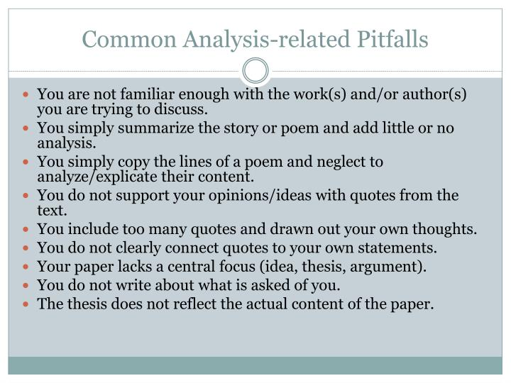 Common Analysis-related Pitfalls