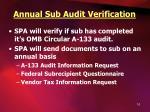 annual sub audit verification