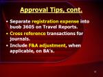 approval tips cont