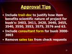 approval tips