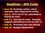 deadlines spa funds