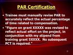 par certification