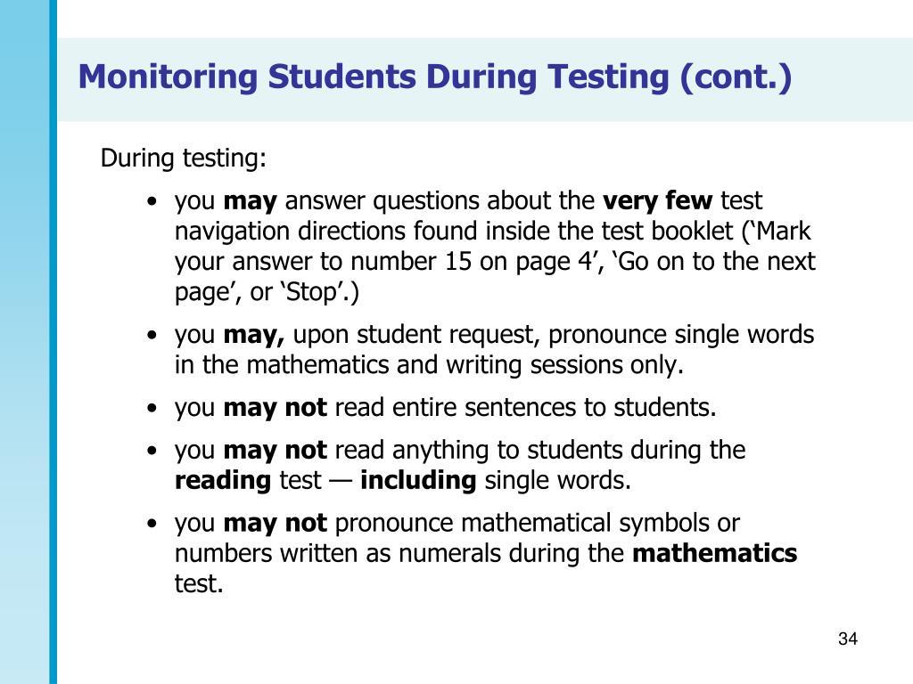 During testing: