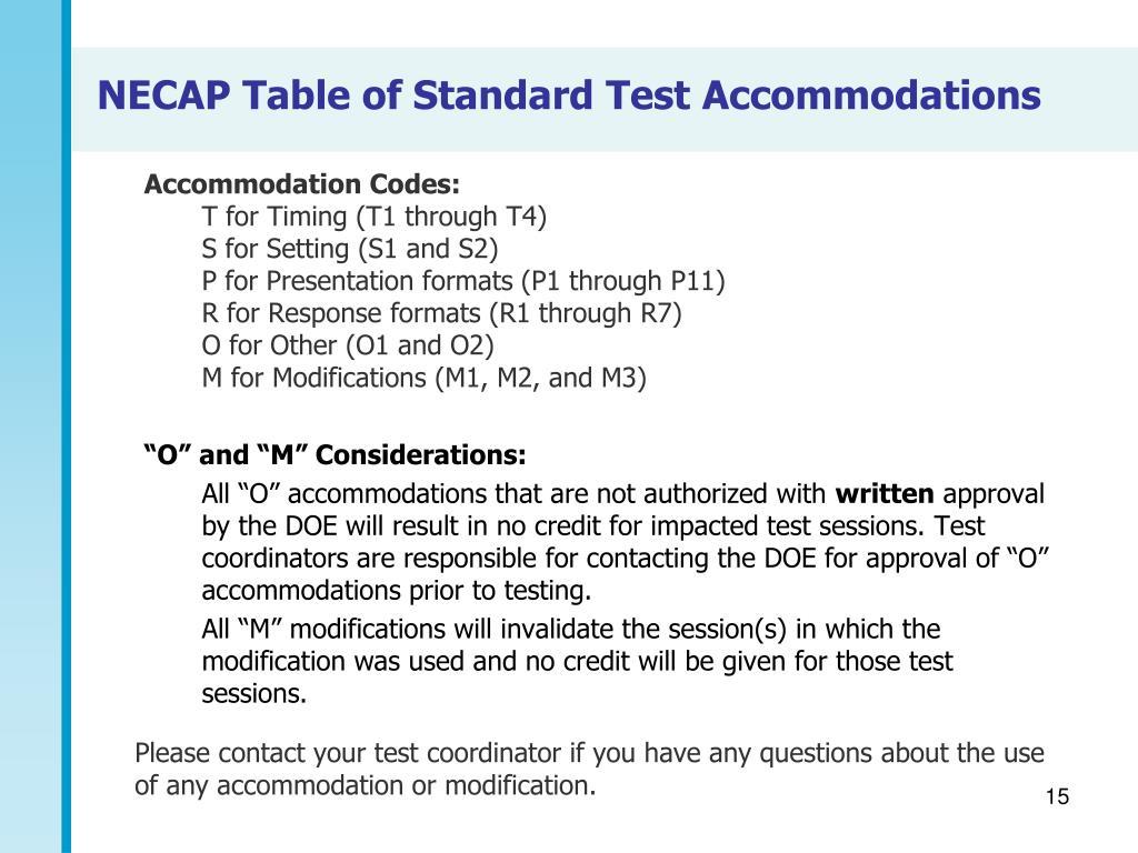 Accommodation Codes: