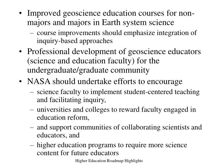 Improved geoscience education courses for non-majors and majors in Earth system science