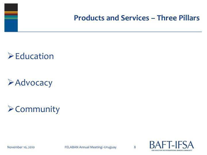 Products and Services – Three Pillars