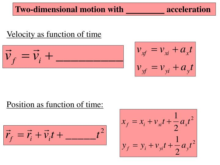 Two-dimensional motion with