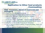 application to other food products commodities