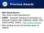 previous awards
