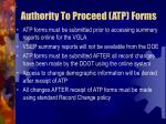 authority to proceed atp forms