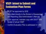 vsep intent to submit and evaluation plan forms