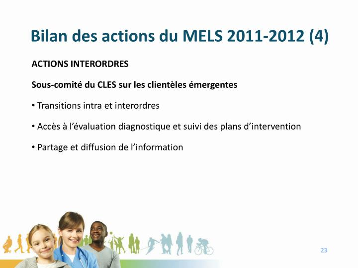 Bilan des actions du MELS 2011-2012 (4)