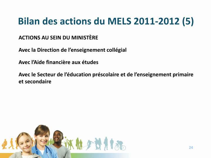Bilan des actions du MELS 2011-2012 (5)