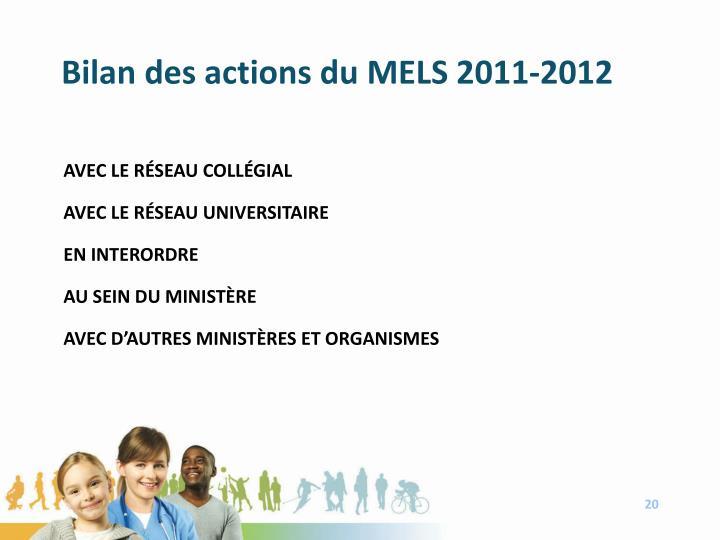 Bilan des actions du MELS 2011-2012