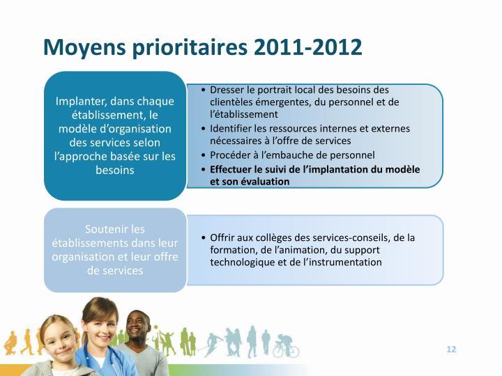 Moyens prioritaires 2011-2012