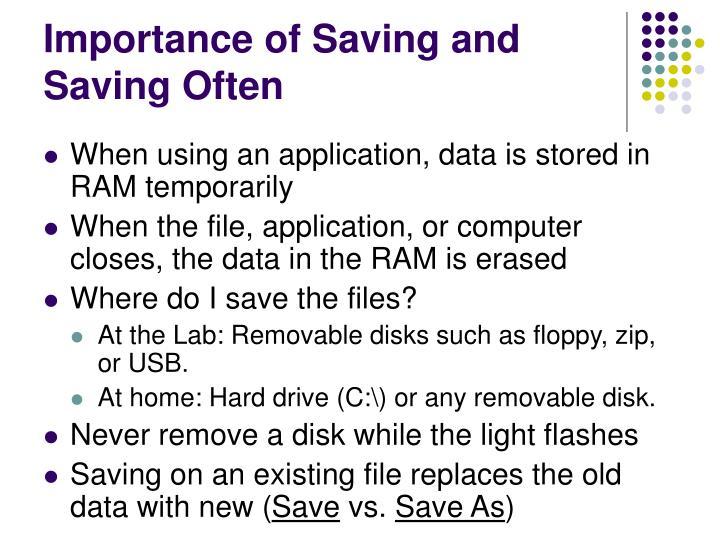 Importance of Saving and Saving Often