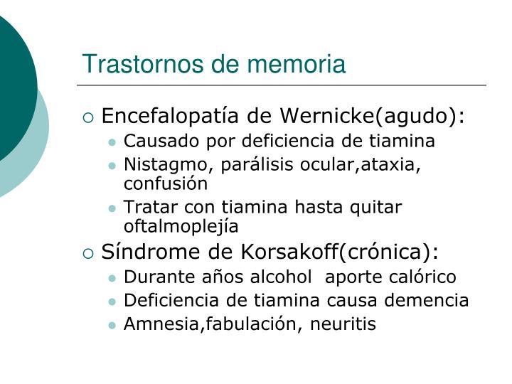 Trastornos de memoria