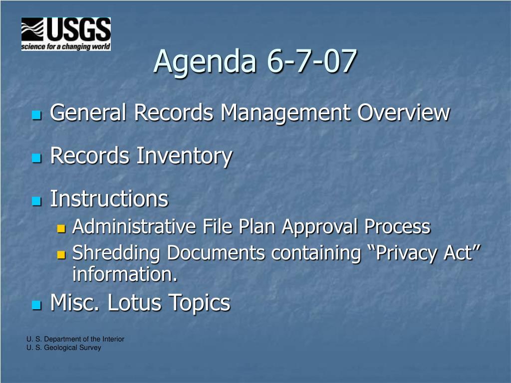 Agenda 6-7-07