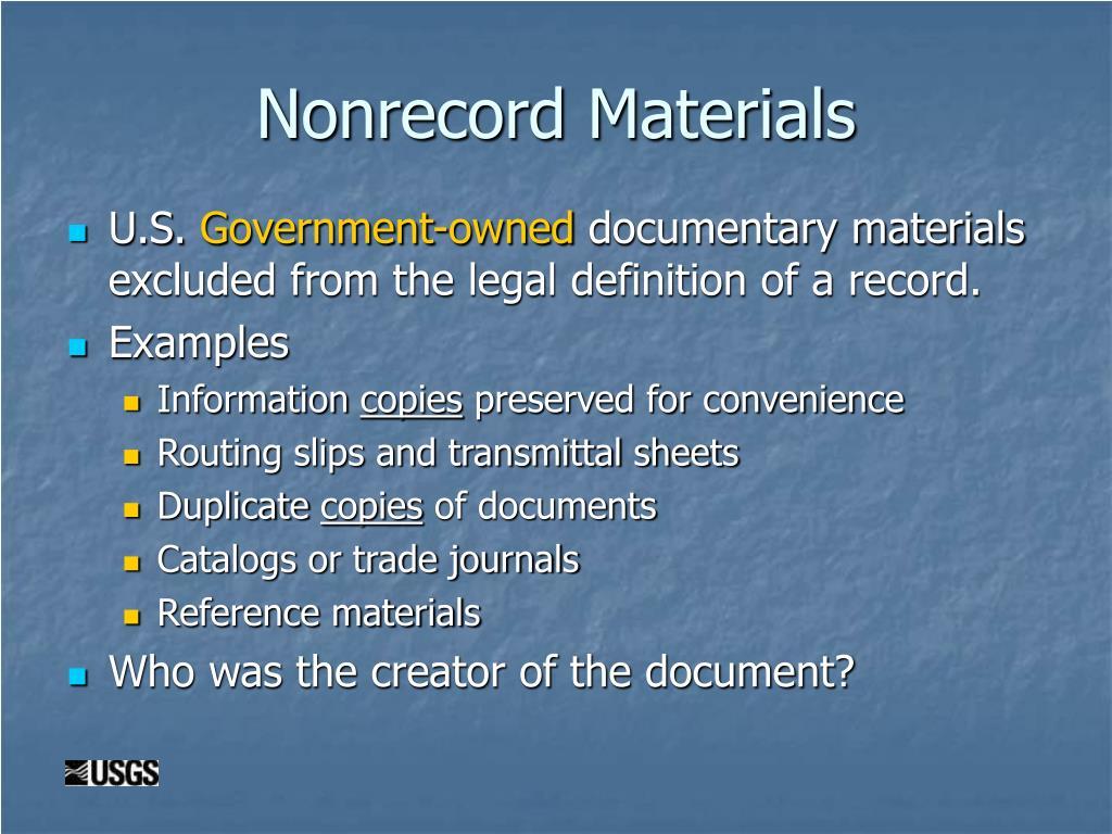 Nonrecord Materials