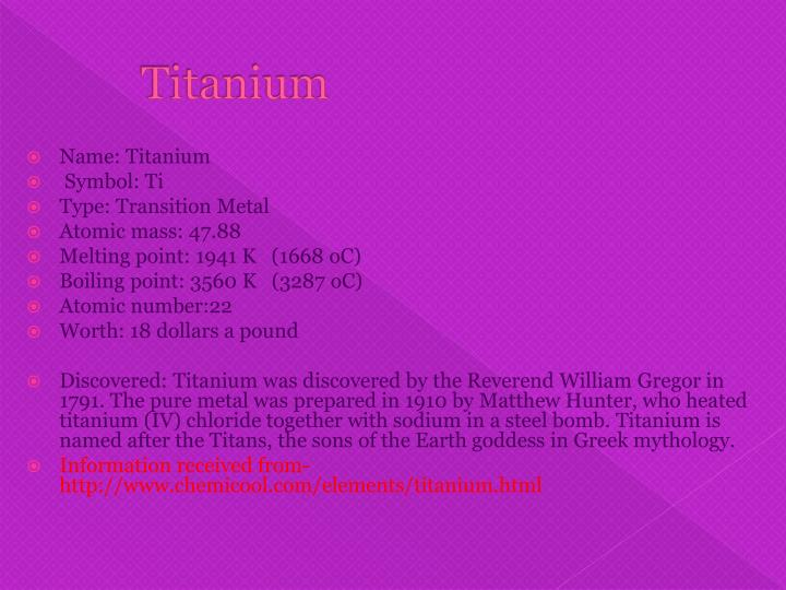 Ppt The Element Titanium Powerpoint Presentation Id1452472