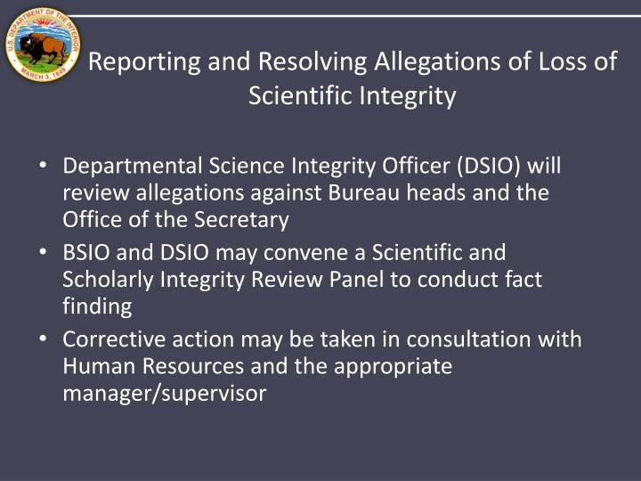Reporting and Resolving Allegations of Loss of Scientific Integrity