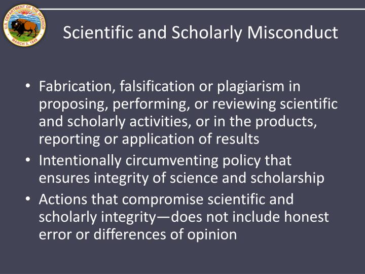Scientific and Scholarly Misconduct