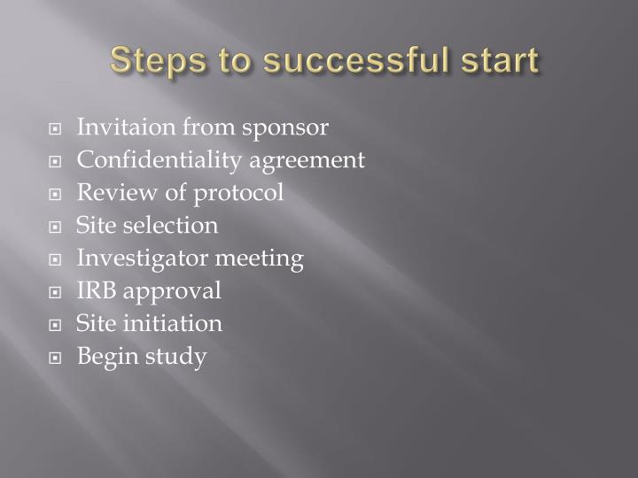Steps to successful start