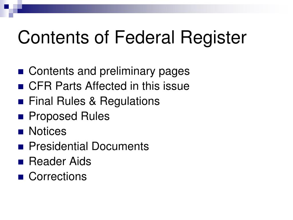 Contents of Federal Register