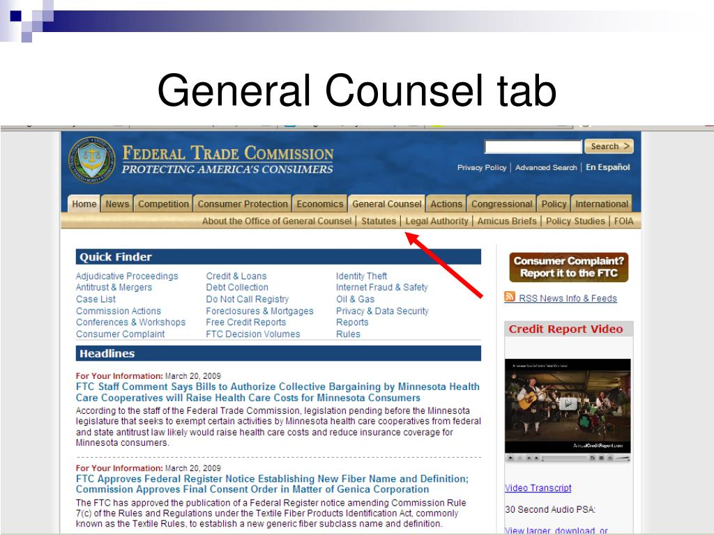 General Counsel tab