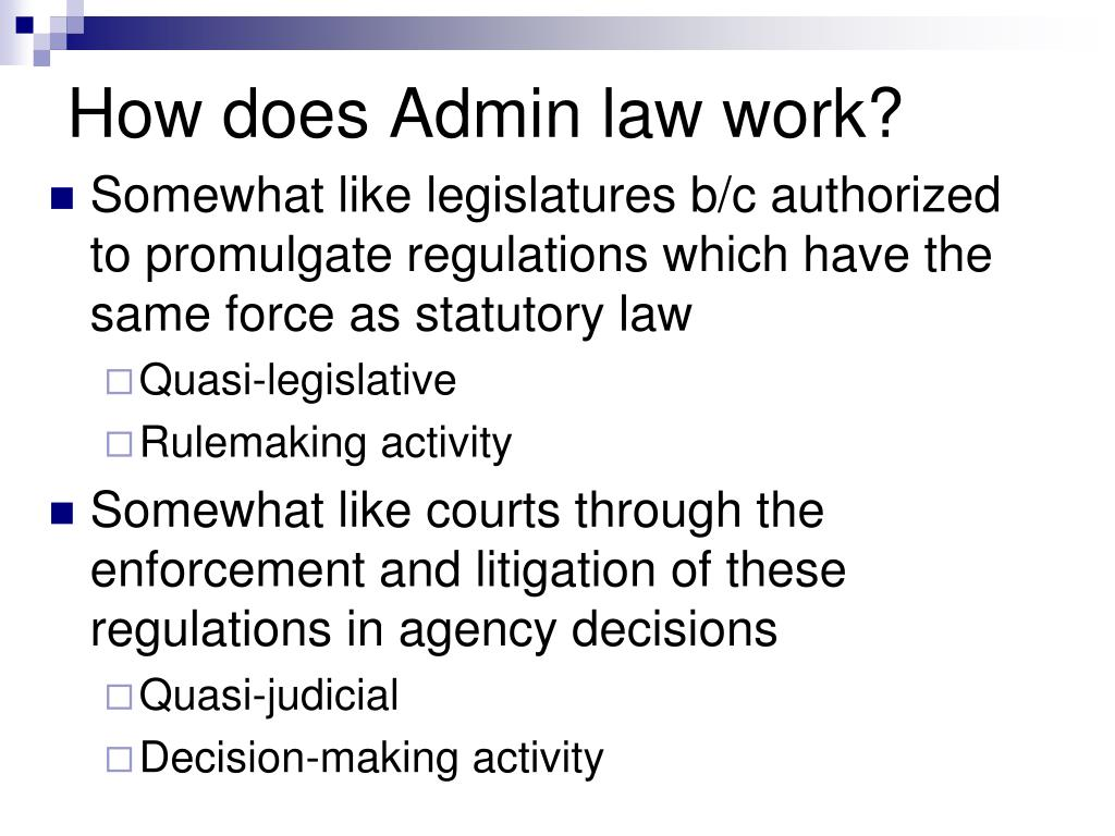 How does Admin law work?