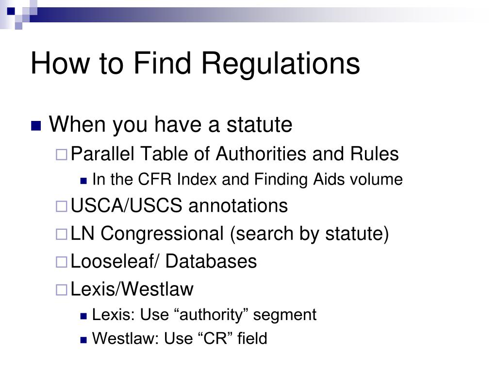 How to Find Regulations