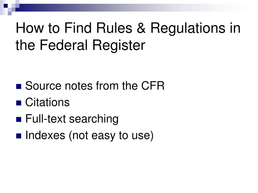 How to Find Rules & Regulations in the Federal Register