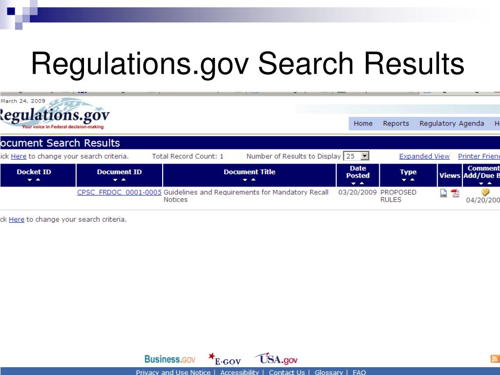 Regulations.gov Search Results