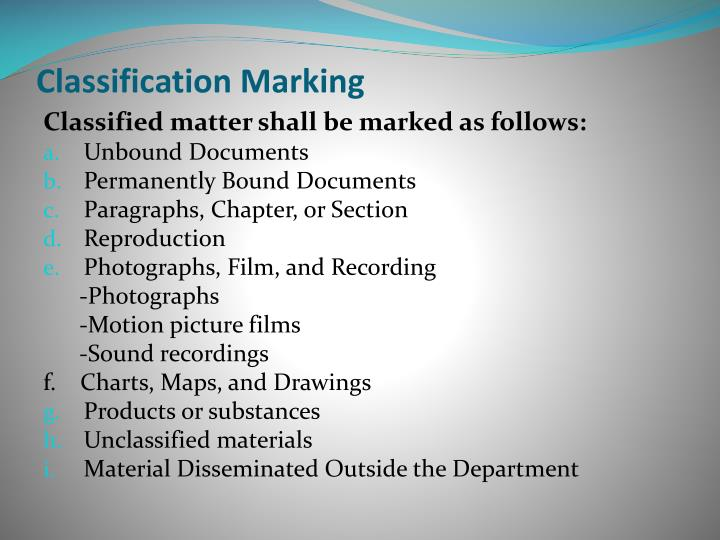 Classification Marking