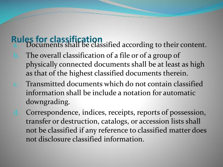 Rules for classification