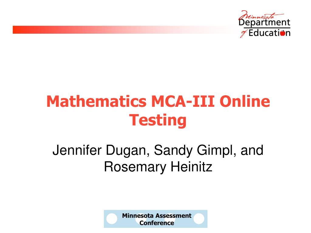 mathematics mca iii online testing