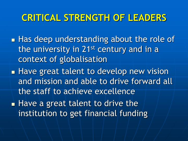 CRITICAL STRENGTH OF LEADERS