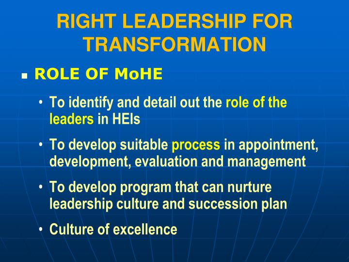 RIGHT LEADERSHIP FOR TRANSFORMATION