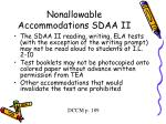 nonallowable accommodations sdaa ii9