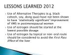 lessons learned 2012