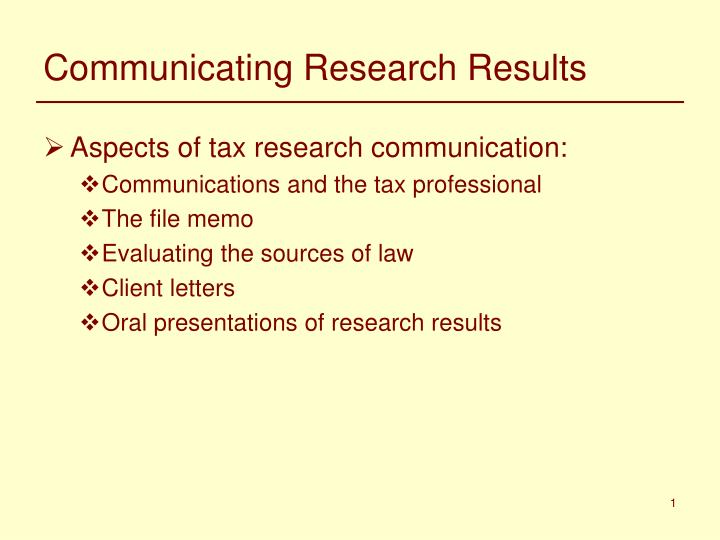 communicating research results n.
