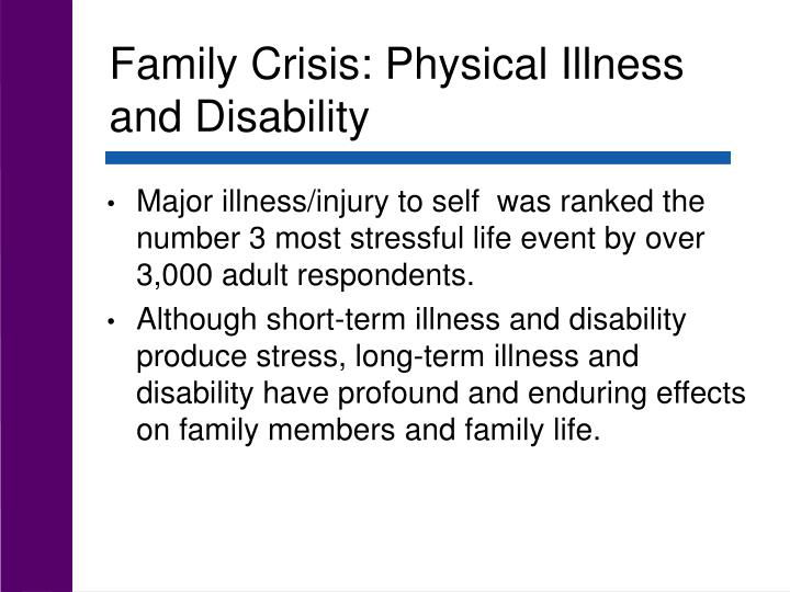 Family Crisis: Physical Illness and Disability