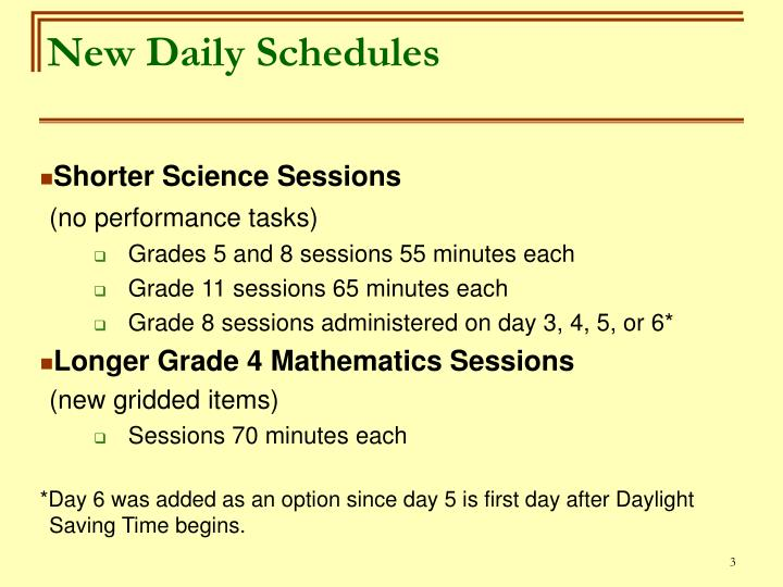 New daily schedules