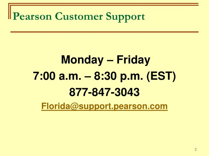 Pearson customer support